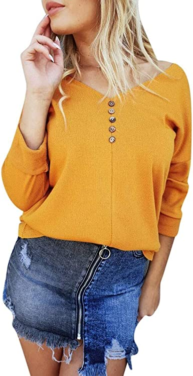 Lelili Women Plus Size Buttons Henley T-Shirt V-Neck Long Sleeve Casual Loose Tops Fashion Ruffle Hem Blouse