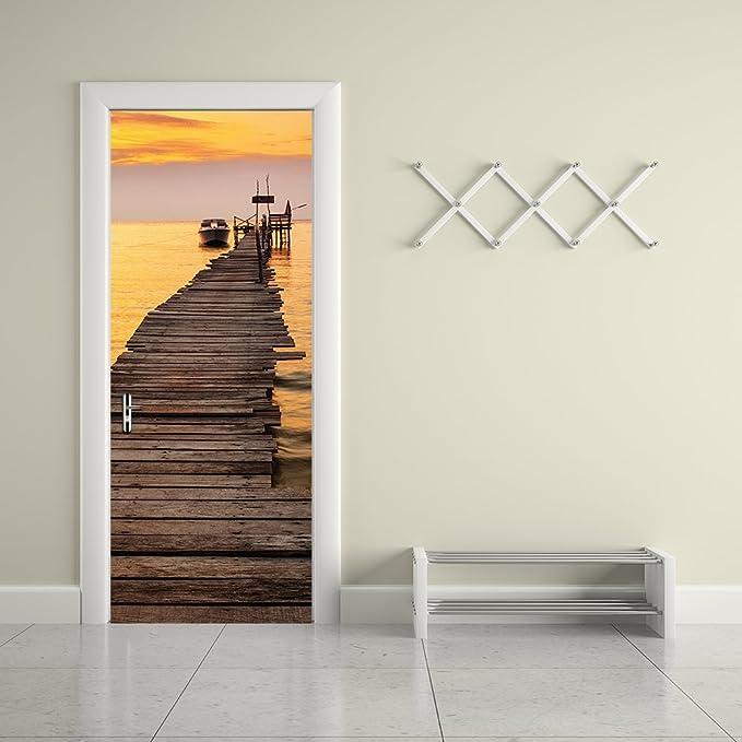 PVC Adhesivo Fotográfico Pegatina 77X200cm Vinilos Decorativos para Puerta Pared Cocina Sala de Baño (Puesta de Sol)