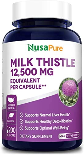 Milk Thistle Extract 12500mg 200 Veggie Capsules Vegetarian,Organic Milk Thistle, 50 1, Non-GMO, Gluten Free Max Strength – Standardized 80 Silymarin – Liver Support Supplement, Cleanse, Detox