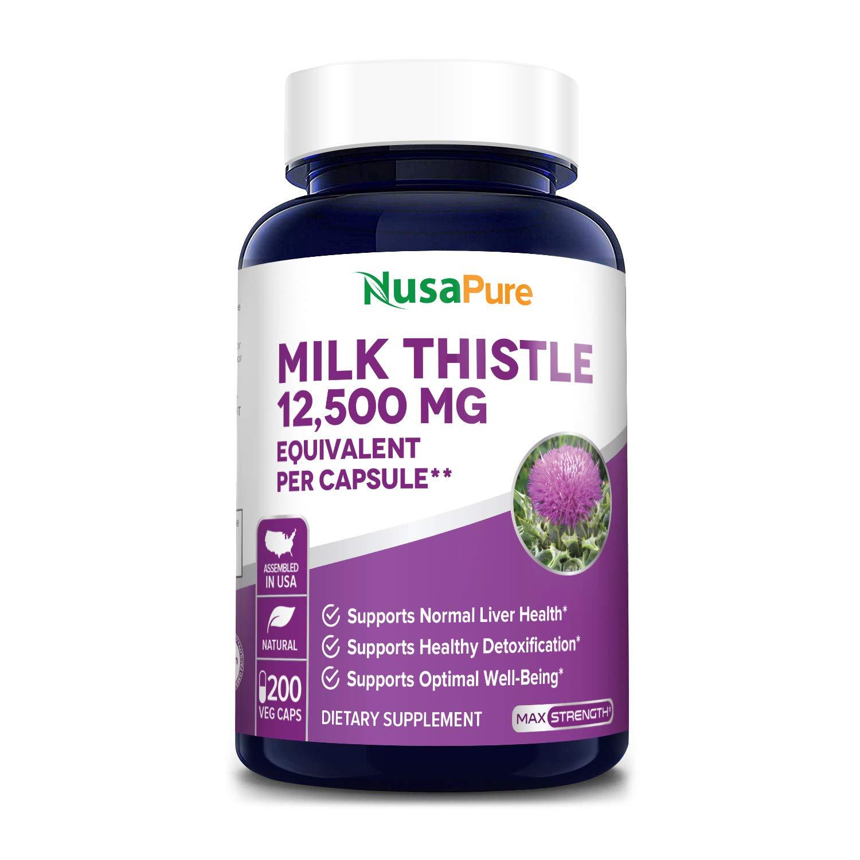 Milk Thistle Extract 12500mg 200 Veggie Capsules (Vegetarian,Organic Milk Thistle, 50:1, Non-GMO, Gluten Free) Max Strength - Standardized 80% Silymarin - Liver Support Supplement, Cleanse, Detox