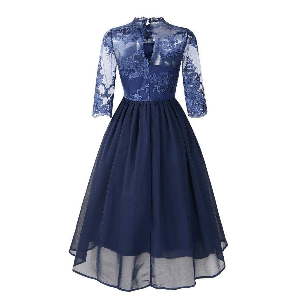 Summer Dresses for Women 3/4 Sleeve Floral Lace Solid Vintage Country Rock Cocktail Dress (Navy,S) by Sagton (Image #2)