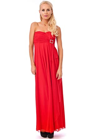 Blossoms Long Red Sash Diamante Strapless Formal Party Prom Ball Gown Maxi Dress Sz 8-