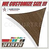 ColourTree 24' x 24' x 24' Brown Sun Shade Sail Triangle Canopy, UV Resistant Heavy Duty Commercial Grade, Custom Size