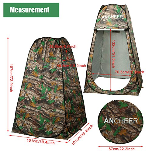 Ancheer Shower Tent Waterproof Portable Set Up Toilet Changing Room Camping Beach Dresses Tent with Carry Bag