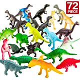 Dinosaur Figure,72 Piece Mini Dinosaur Toy Set,Great Safety Material Assorted Vinyl Plastic Dinosaur,Zoo World Dino Dinosaur Playset Toys For Boys Cupcake Toppers Party Favors Learning Resources