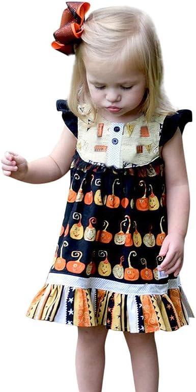 QinMMROPA Vestido Disfraz de Halloween para niñas Bebe Calabaza ...
