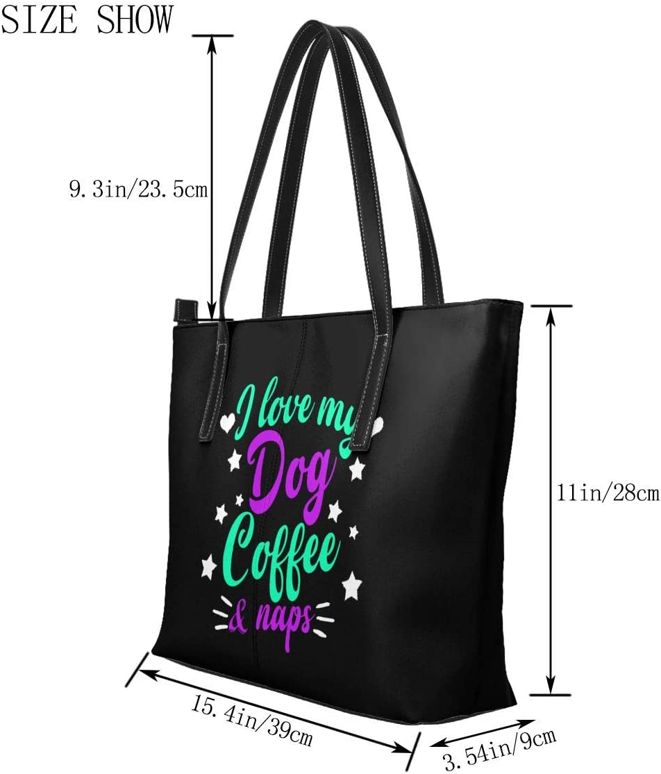Leather Tote Bags Zippered Handbags Shoulder Bag WAY.MAY I Love My Dog Coffee and Napping