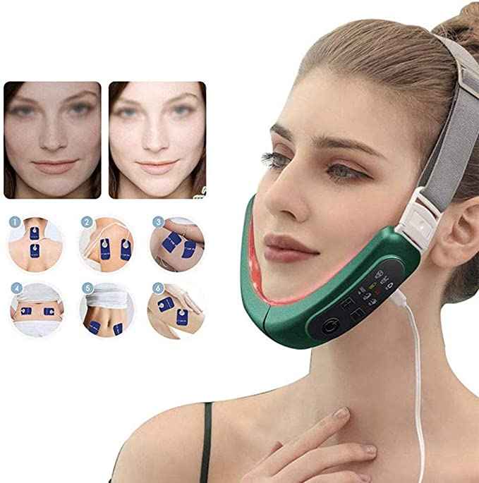 Amazon.com: YC° Electric V-Face Shaping Massager Intelligent Face-Lifting Instrument, V Shape Double Chin Firm Lift Up,with 4 Massage Heads, 6 Massage Modes: Beauty