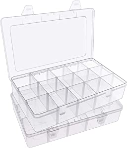 SGHUO 2 Pack Clear Plastic Washi Tape Storage Box, Jewelry and Crafts Compartment Organizer, 15 Girds Container with Adjustable Dividers