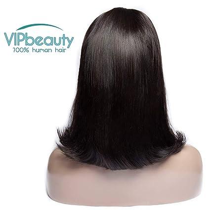 VIPbeauty - Peluca para mujer, pelo corto brasileño, pelo natural virgen, cabello humano