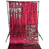 DUOBAO Sequin Backdrop 8Ft Fuchsia to Silver Mermaid Sequin Backdrop Fabric 6FTx8FT Two Tone Sequin Curtains