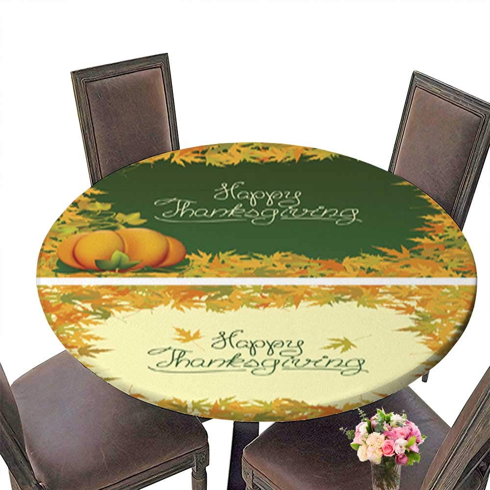 Solid Round Tablecloth,Happy Thanksgiving Vector Greetings Card Table Cover up to 31.5''-33.5'' Diameter