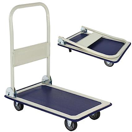 Bakaji - Carro portaequipajes - Carro porta-todo, ideal para transporte con mango plegable