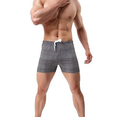 Dihope Homme Bas de Pyjama Short Bermudas Confortable Vêtements de Nuit  Ceinture Élastique Ajustable Salon Chambre 669417832e5