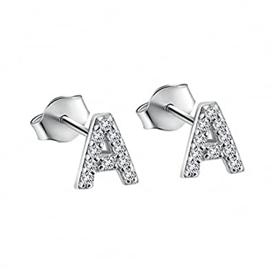 01ee03182 Amazon.com: megko Alphabet A-Z Letter Set Initial Stud Earrings Clear  Crystal Silver Pave For Women Lady Girls (A one pair): Jewelry