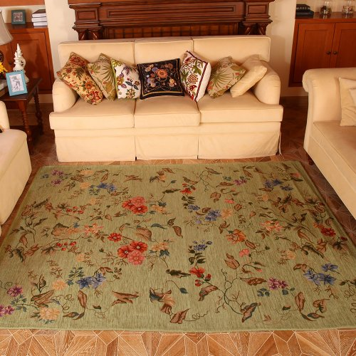 Shabby Cottage Furniture (MeMoreCool Pale Green Floral Western Rugs Rustic Area Rugs Vintage Shabby Traditional Rugs Floral Rugs Carpet Floral Print Rugs and Carpets for Home Living Room Country Cottage Rugs)