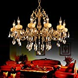 QRZE 10 Lights Modern Luxurious K9 Crystal Pendant Lights Candle Cognac Pendant Lamp Ceiling Living Room Lighting for Dining Living Room Bedroom Hallway bronze crystal chandeliers For Sale