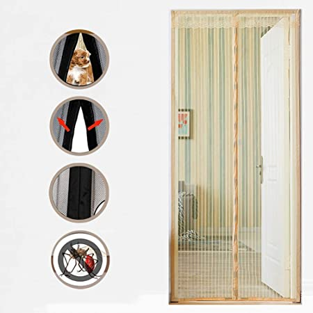SYWJ Puerta autosellante para Insectos voladores, Puerta corrediza magnética de Vidrio corrediza para jardín - Anti-Mosquito - Fácil de Instalar - SYWJ501,Beige,100x220cm: Amazon.es: Hogar