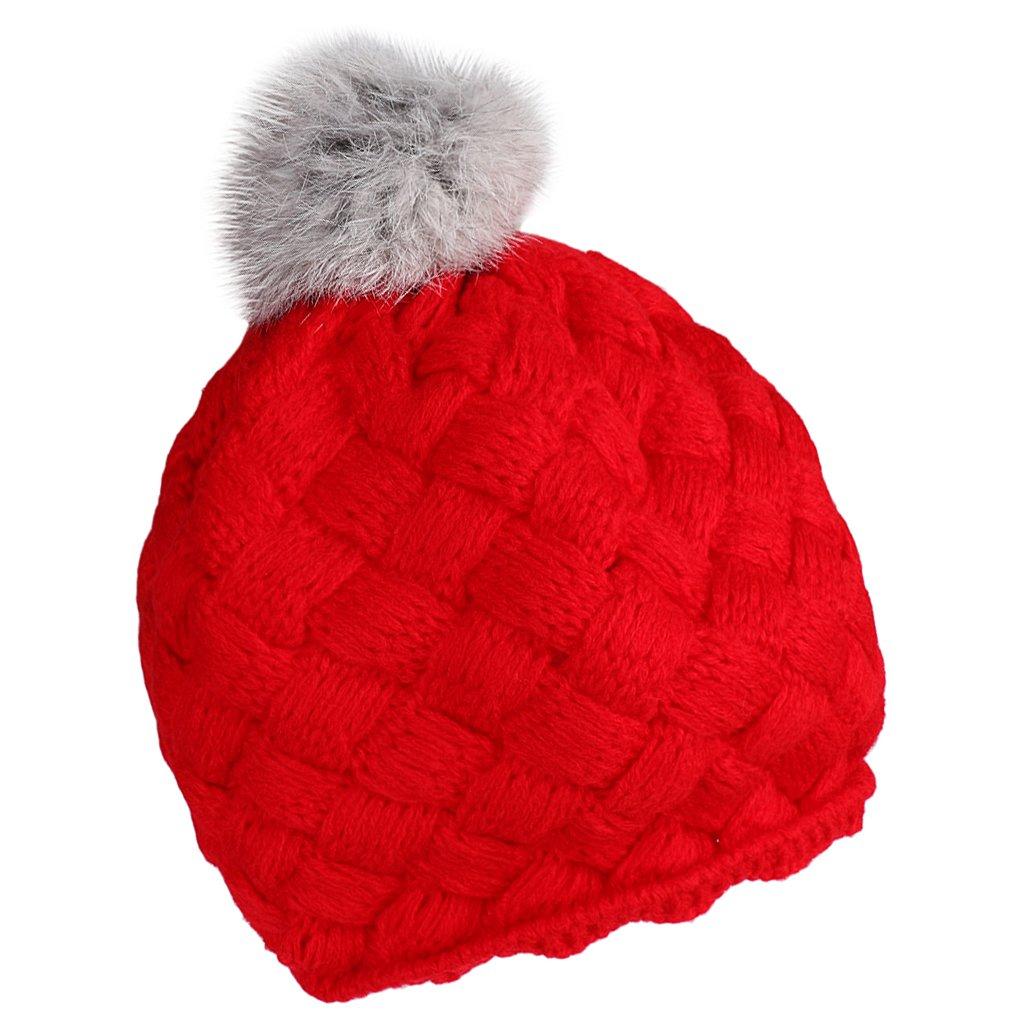 MagiDeal Baby Kids Knitting Beret Beanie Hat Cap Crochect Pom Pom Beanie Warm - Red non-brand