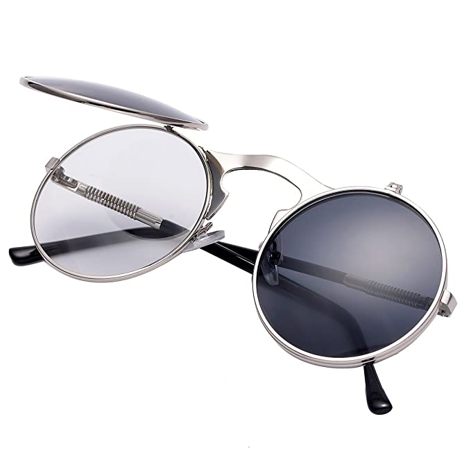 99983c0286a COASION Retro Metal Flip Up Round Circle Frame Steampunk Sunglasses for Men  Women (Silver Frame Black Lens