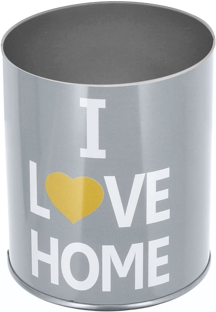 Promobo Cendrier Pot A Crayon 2 en 1 avec Couvercle Design I Love Home Gris