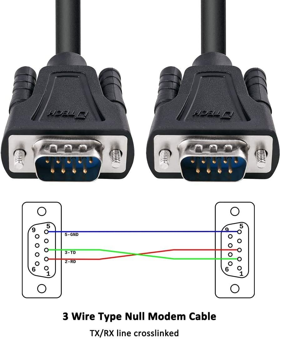 DTECH 15 Feet Serial 9 Pin DB9 RS232 Serial Cable Male to Male For Computer Monitor Printer Extension Straight Through Cord(5m// black)