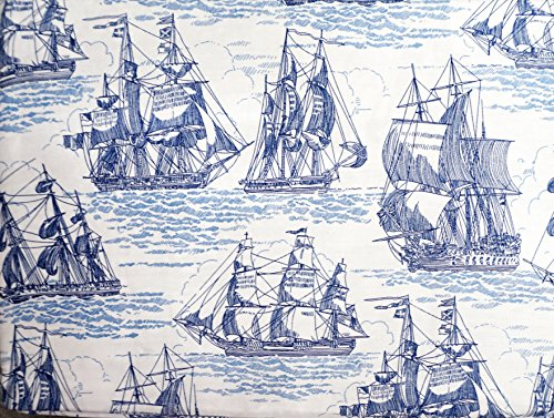 Max Studio Kids Blue on White Sailing Ship Sheet Set, Full Size