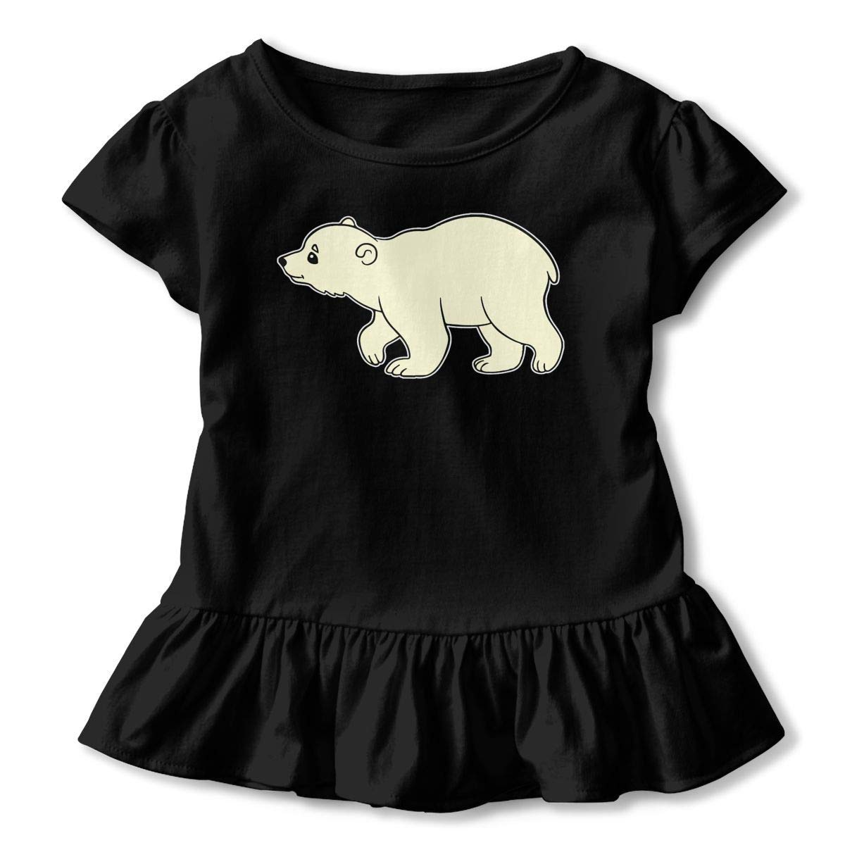 2-6T Ruffled Tunic Tops with Falbala PMsunglasses Short Sleeve Bear Baby Cub Shirts for Girls