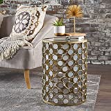 Rezi Mirrored Honeycomb Side Table