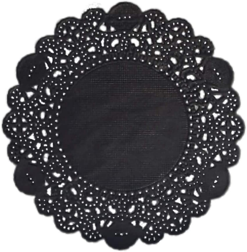 "Doilykorea- 250pcs. Premium 3.5inch color Round Lace paper doilies - Non-Dust, Clean Cut, Simple design : Party/Gift/Pad for Cake Crafts/Home Decoration Weddings Table settings Placemats [3.5"", Black]"