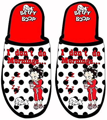 MID SOUTH PRODUCTS Betty Boop I Don't Do Mornings Polka Dotted Velvet Scuff Slippers (One Size) from Midsouth Products
