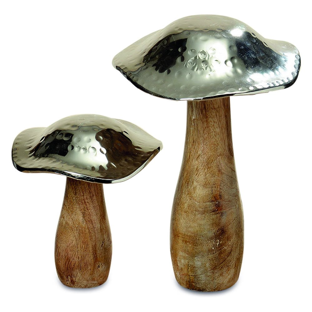 WHW Whole House Worlds Farmers Market Mushrooms, Set of 2, Decorative Kitchen Sculpture, Art, Mango Wood and Hammered Silver Metal, 8 1/4 and 5 1/2 Inches Tall