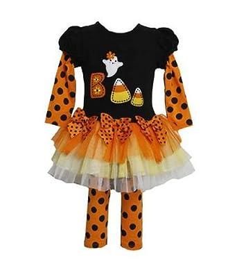 bonnie jean girls halloween boo candy cane fall dress outfit set w leggings black