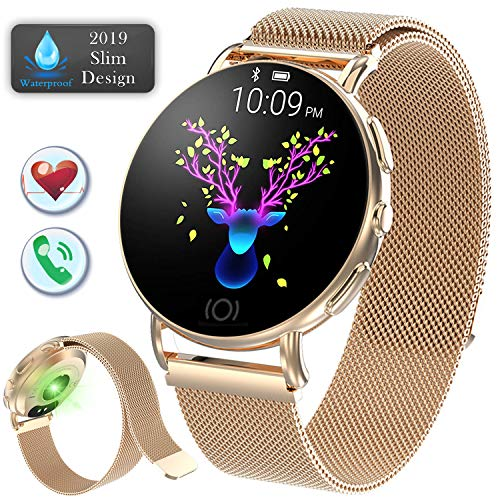 Fitness Tracker Smart Watch for Women Men Waterproof Android iOS Sports Watch Heart Rate Blood Pressure Sleep Monitor Multiple Sports Modes Pedometer Bluetooth Call Reminder Mother's Day Birthday Gift