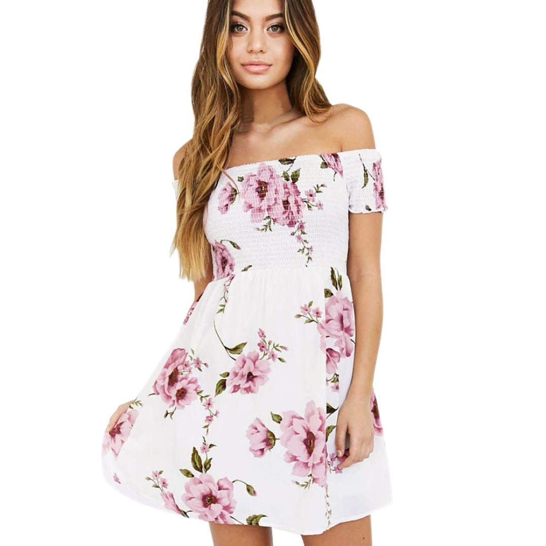 Jaminy Mode Frauen off Schulter Floral Strand Casual Abend Party ...