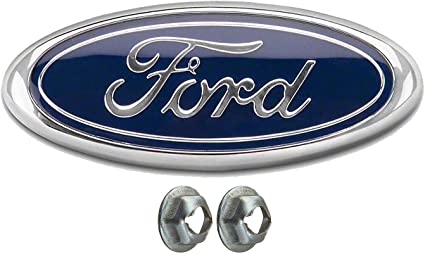 Front Grill Badge Name Plate for Ford F150 2005-14 Also Fits 05-07 F250 F350 11-14 Edge 11-16 Explorer 06-11 Ranger Oval 9X3.5 Achoc Dark Blue Emblem with 2 Nuts