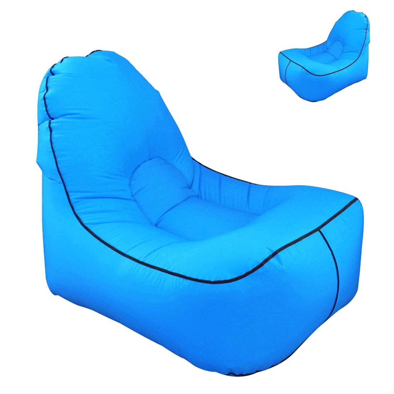 Rziioo Aufblasbares Lounger Sofa, Lazy Air Bed Beach Chair für Indoor Outdoor Hangout Air Chair Couch-Hängematte,Blau