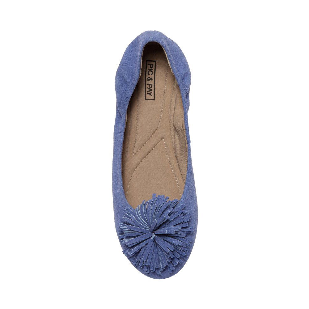 PIC/PAY Kiana - Women's Tassel Elastic Ballet Flat - Embellished Suede Leather Pompom Comfortable Slip-On B07532W89J 9.5 B(M) US|Navy Blue Suede