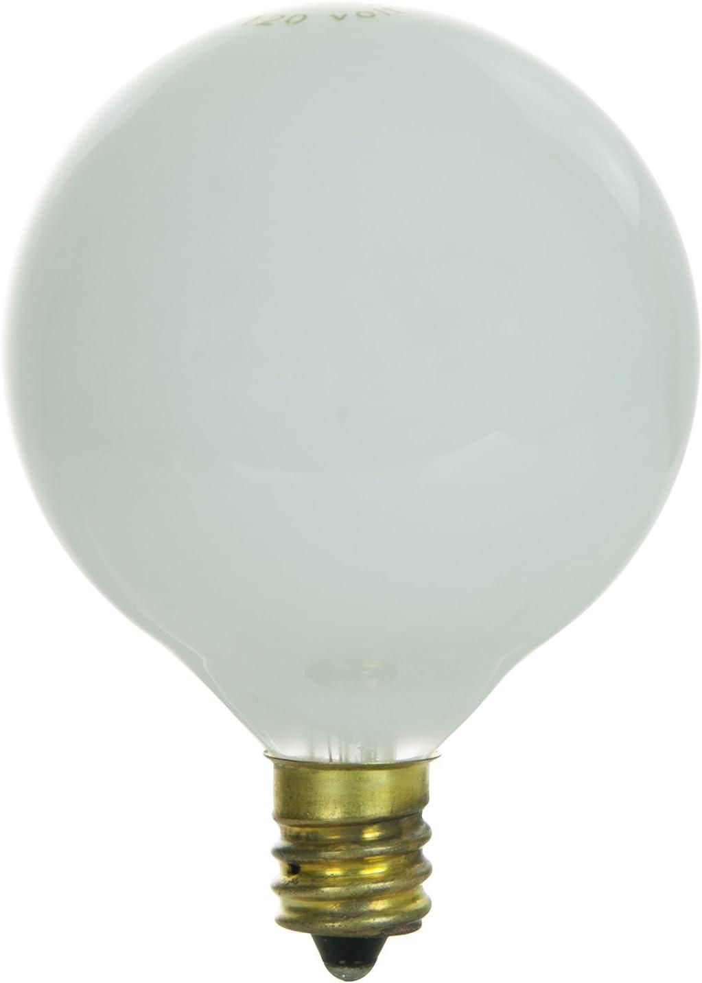 Sunlite 25G16.5//WH//3 Incandescent 25-Watt White G16.5 Globe Bulb Candelabra Based