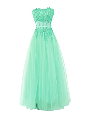 b2fc8bbe969 Dressystar Tulle Prom Dress Strapless Flower Lace Appliques Party Gowns  Slim Waist Size 30W Mint  Amazon.co.uk  Clothing