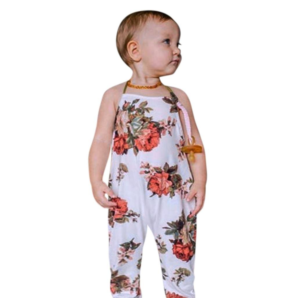 6ca0ee6a11c Amazon.com  Lavany Kids Rompers Toddler Baby Girls Floral Printed Halter  Jumpsuit For 0-4 Years  Clothing