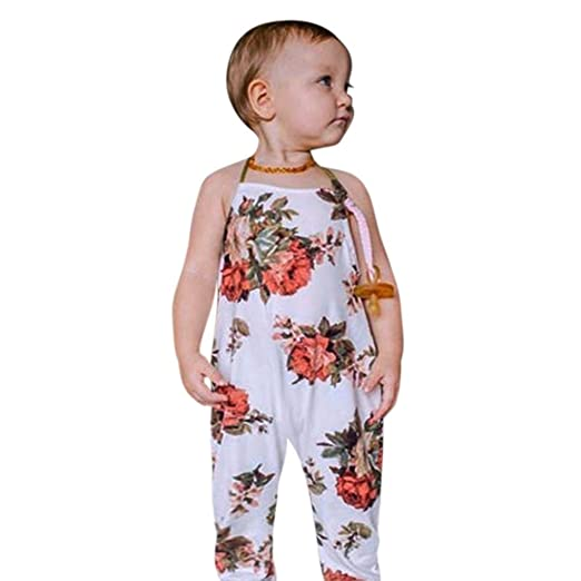 a6095fbd5dc Lavany Kids Rompers Toddler Baby Girls Floral Printed Halter Jumpsuit For  0-4 Years (