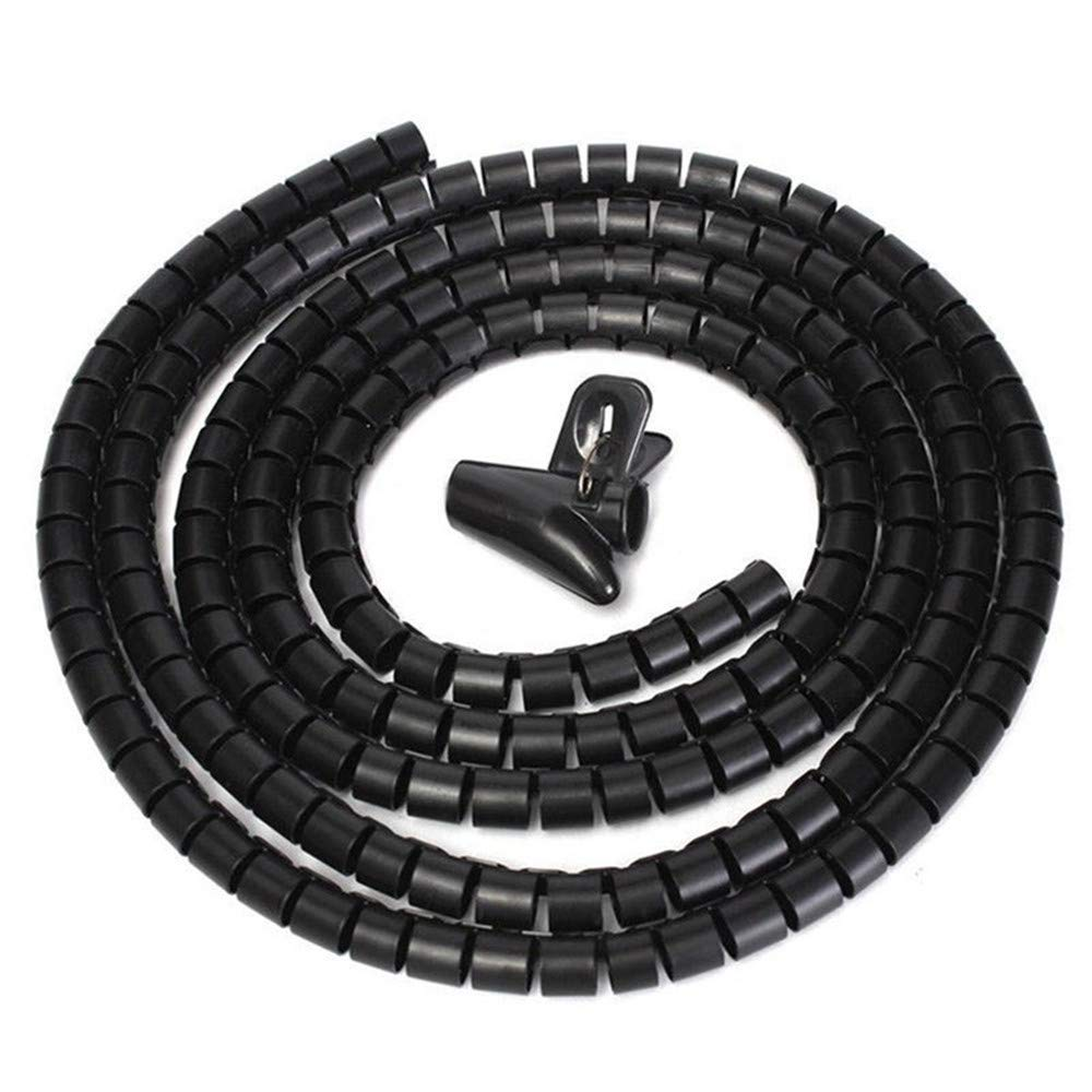 Clearance Sale!UMFun Flexible Spiral Tube Cable Winder Cable Organizer Wire Wrap Cord Protector 10mm/25mm (Black, 10mm) by UMFun_Home Decoration (Image #1)