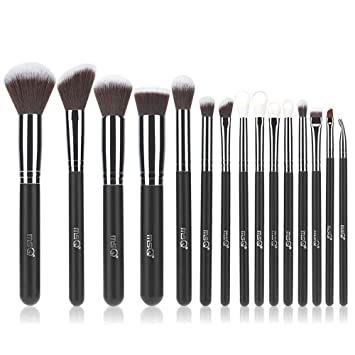 Amazon.com: MSQ Makeup Brush Set 15pcs Professional Cosmetic Brushes with Soft Natural/Synthetic Hair, Wood Handle for Foundation, Powder, BB Cream, ...