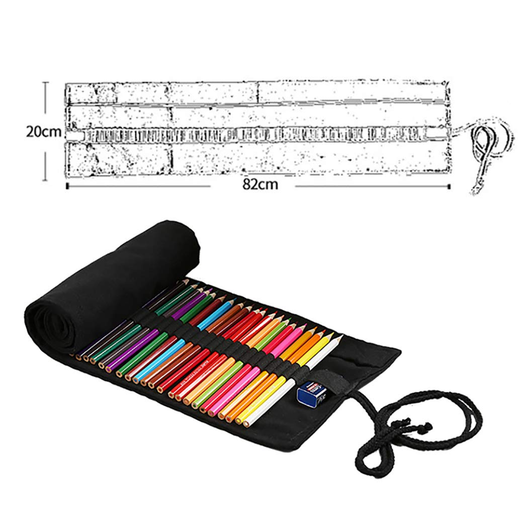 Canvas Pencil case, Fanspack Canvas Pencil wrap 72 Holes Pen Holder Brush Pencil case School Pencil case Artist Pencil case Girls Boys