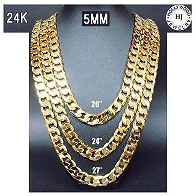 fe66f9c03b8a Hollywood Jewelry Collar de Cadena de Oro 24 K Chapado en Pequeño 5 mm  W Resistente al Desgaste