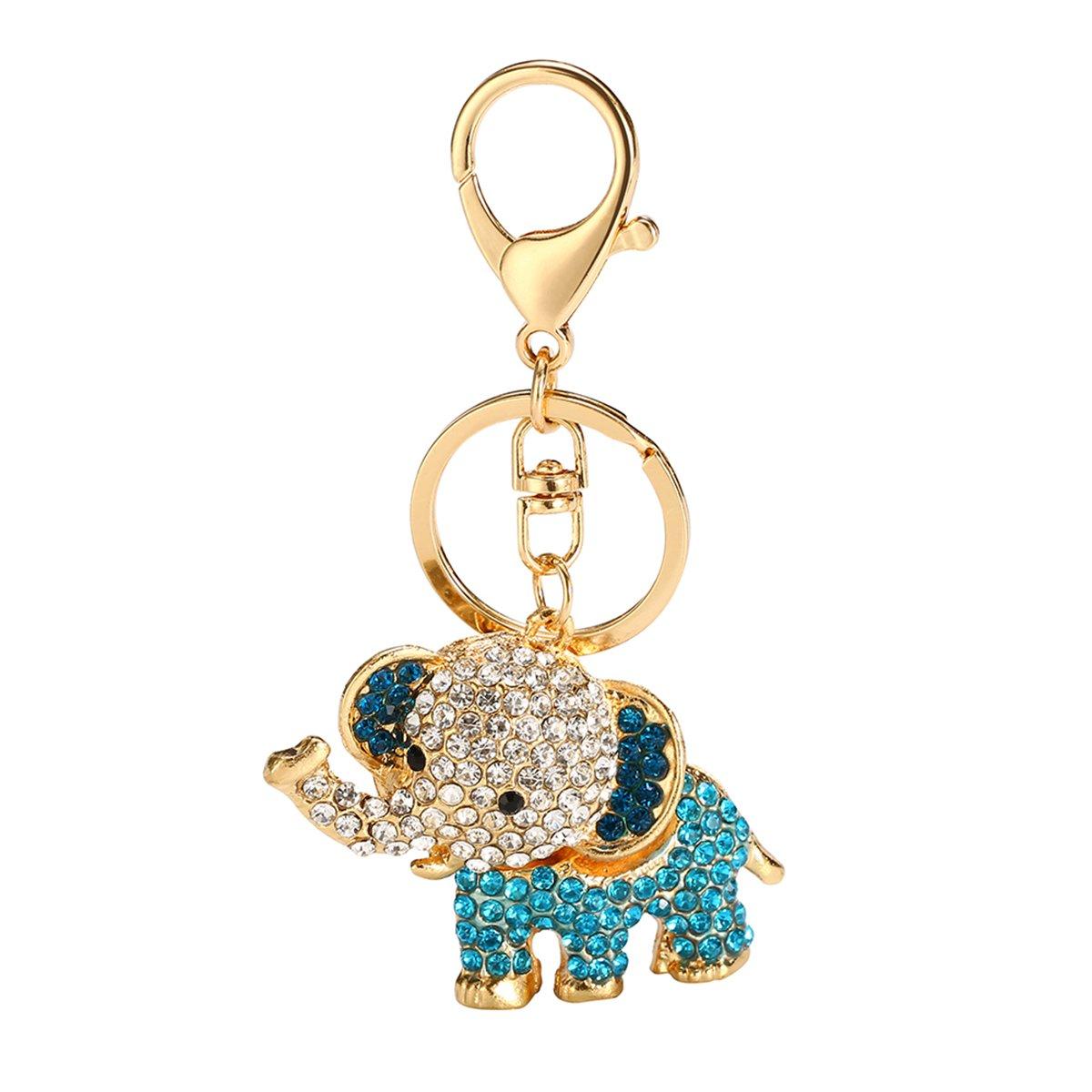 c7790860116 Mayitr Crystal Lucky Rhinestone Charms Pendant Key Chains Cute Purse Bag  Gifts New (Elephant Blue)