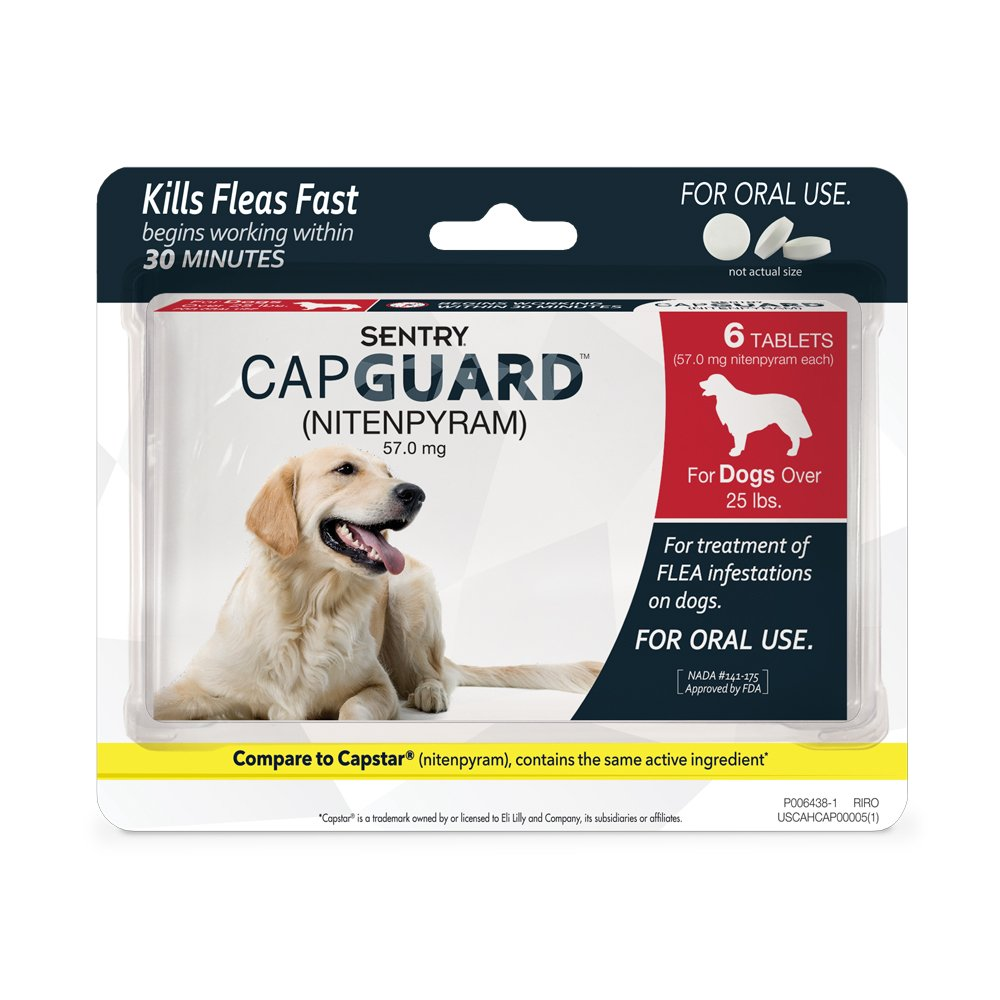SENTRY Capguard (nitenpyram) Oral Flea Control Medication, 25 lbs and Over, 6 count by SENTRY Pet Care