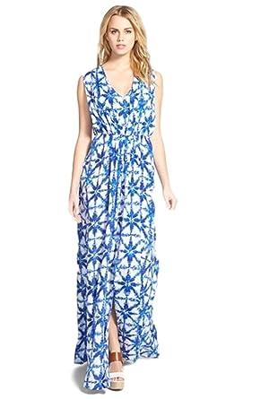 9355c432c2c6 Michael Kors Royal Blue White Print Pleated Sleeveless Maxi Dress ...