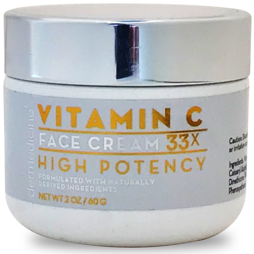 Natural Vitamin C High Potency Face Cream 33x High Potency w/Squalane & Antioxidants | Professional Grade Quality Helps Smooth Appearance of Fine Lines & Wrinkles & Brightness 2 oz 60g by Dermedicine